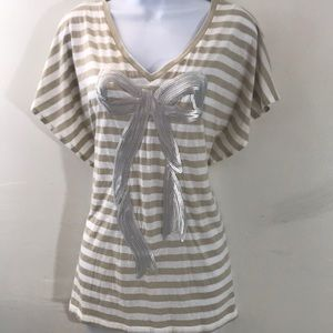 NWT sequined silver bow kaki &  white striped top